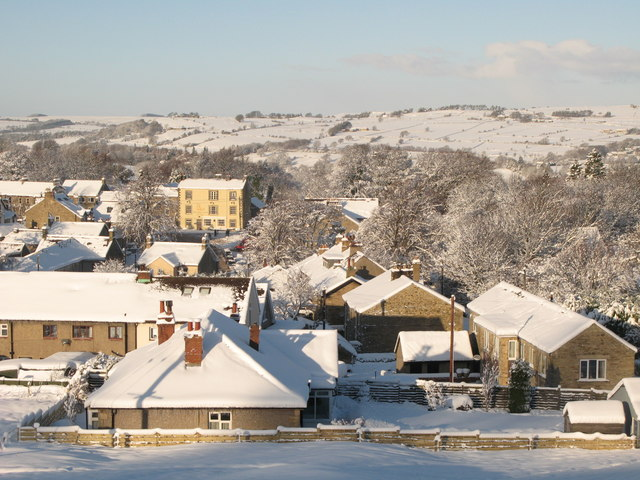 Snowy rooftops in Allendale Town