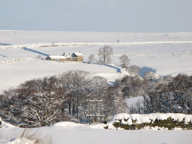 Moor House and the valley of Shield Burn in the snow