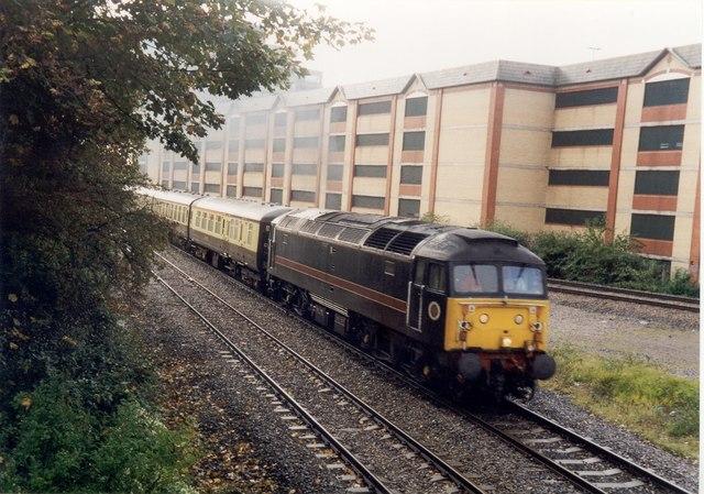Class 47 departing Queen Street, heading to Rhymney