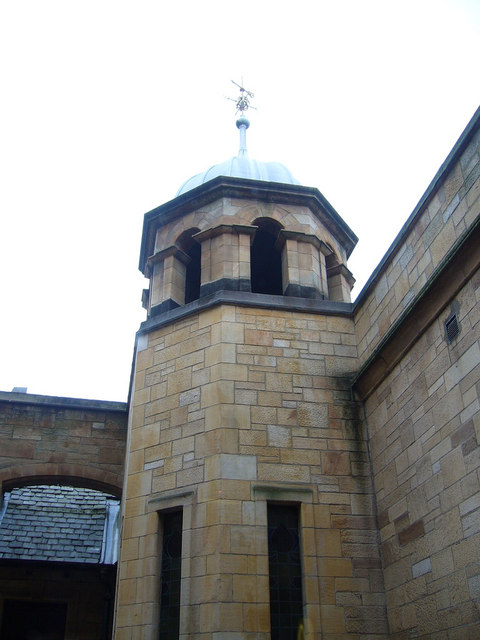 Tower in the Mackintosh-designed courtyard, Queen Margaret College