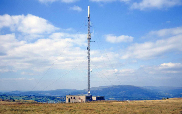 Television transmitter mast on Gilwern Hill
