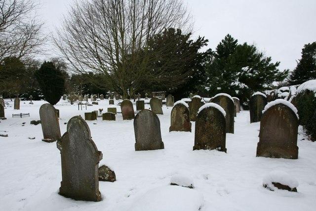 Headstones in the snow