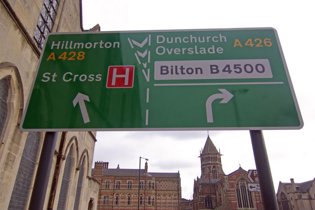 Road sign - Warwick Street, Rugby
