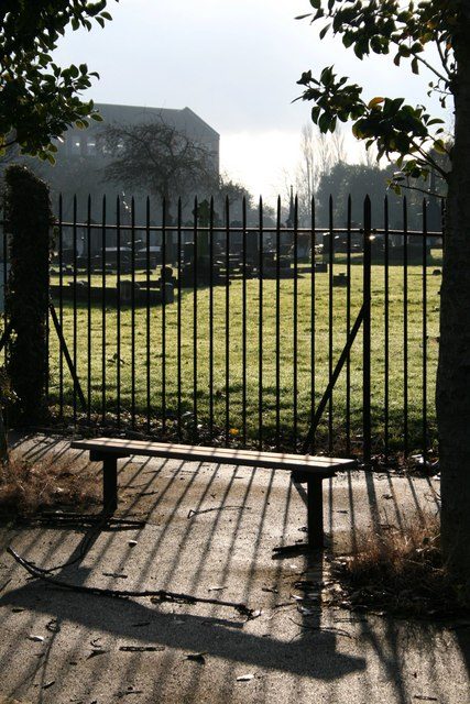 Bench, fence, cemetery and mill