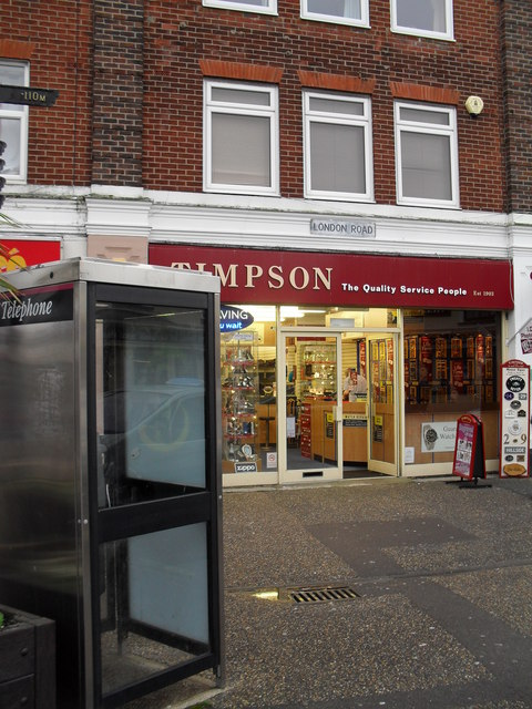 Phonebox outside Timpson in London Road