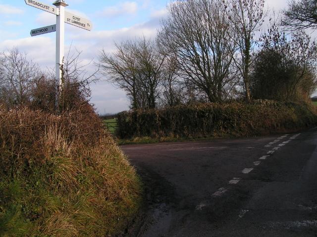 Lane junction near Little Barton Farm