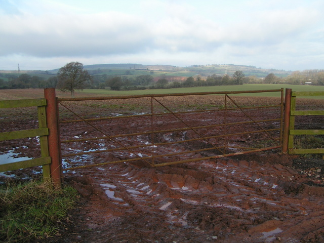 Muddy field entrance