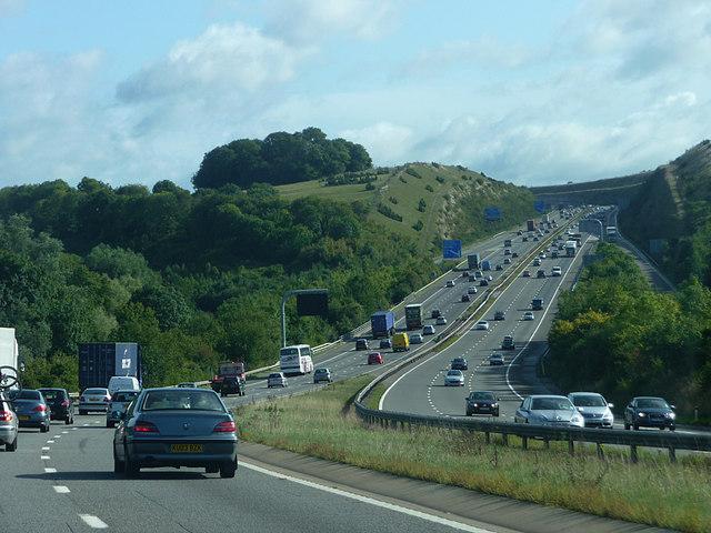 M3 approaching Twyford Down
