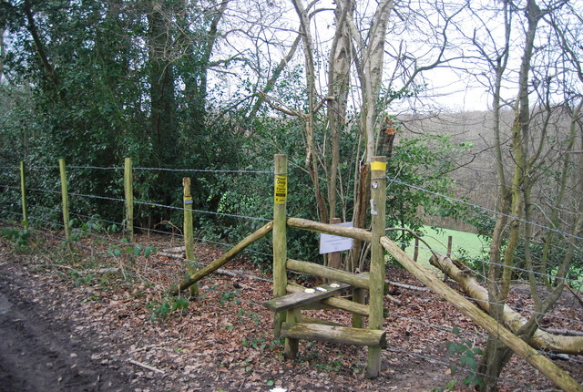 Stile, bridleway / footpath junction