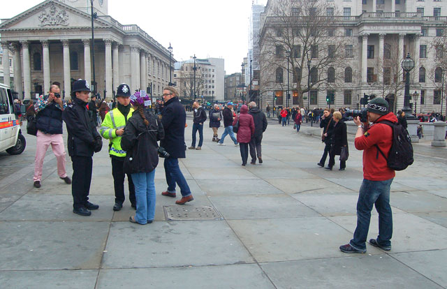 Photographing the police at a protest in Trafalgar Square