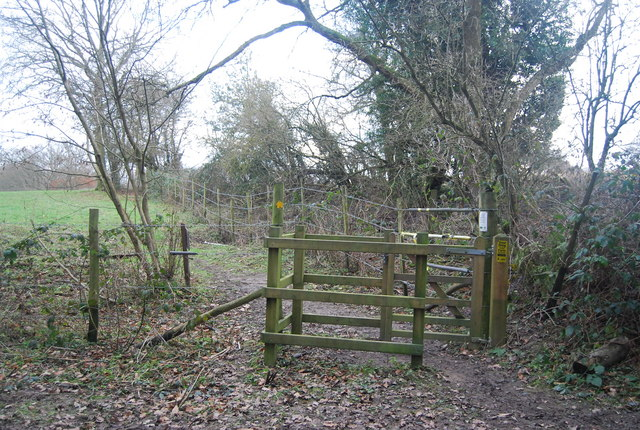 Kissing gate, bridleway / footpath junction