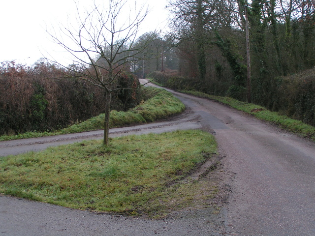 The junction at the lane to Larkbeare Court