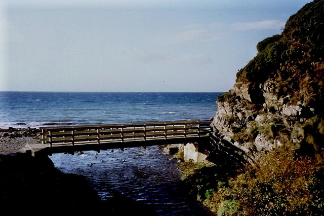 Glen Maye - Footbridge over stream at Irish Sea