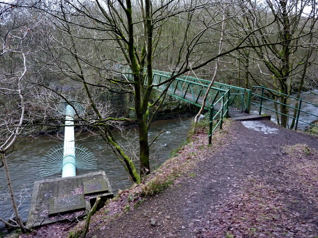 Footbridge and pipe over the River Irwell