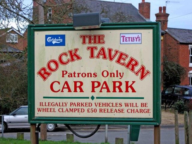 The Rock Tavern car park sign, Caunsall Road
