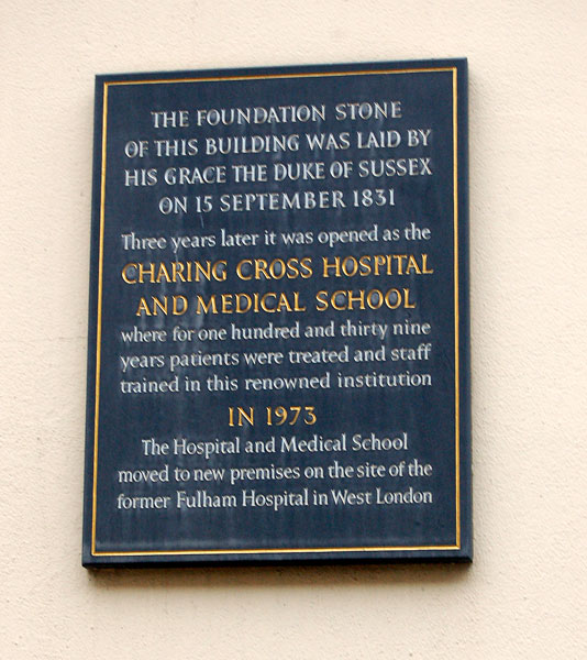Plaque commemorating Charing Cross Hospital, William IV Street