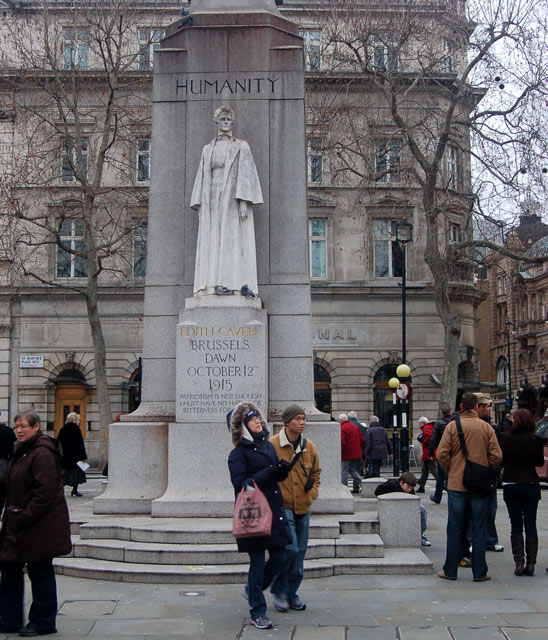 Marble statue of Edith Cavell, St Martins Place WC2