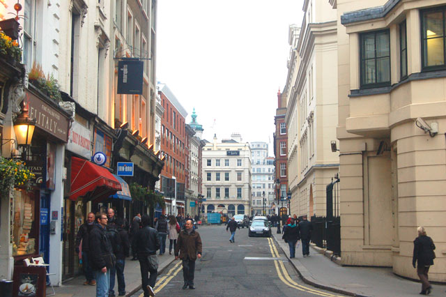 Looking east along Chandos Place, London WC2