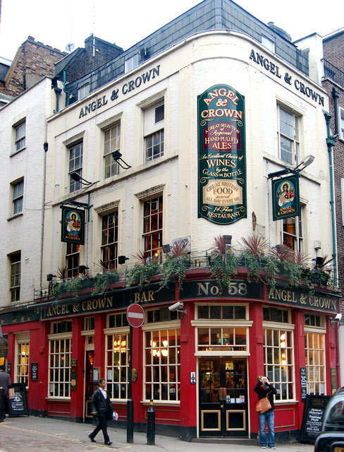 The Angel & Crown, corner of New Place and St Martins Lane, WC2