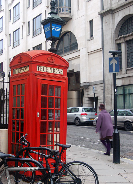 Phonebox and police post, Agar Street, WC2