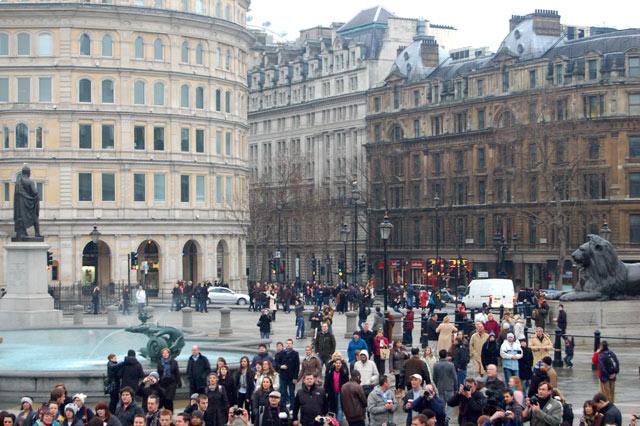 Looking southeast across Trafalgar Square towards The Strand