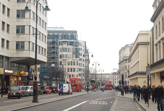 Looking west along The Strand towards Trafalgar Square