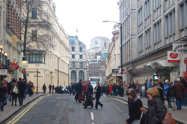 Looking east along William IV Street towards The Strand