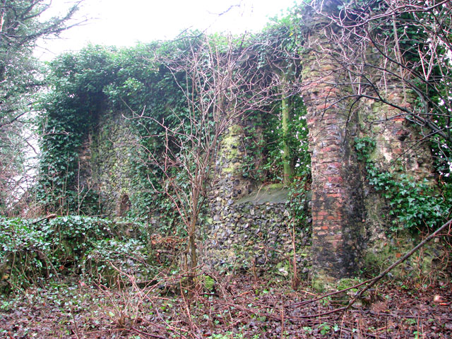 The ruins of St Andrew's church - a section of south wall