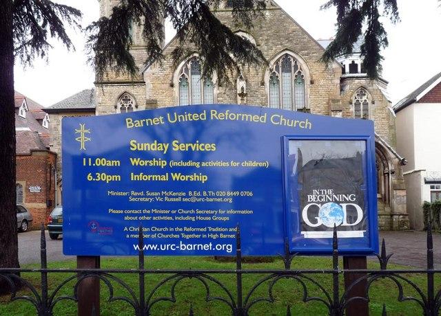 United Reformed Church, Wood Street, Barnet - Notice board