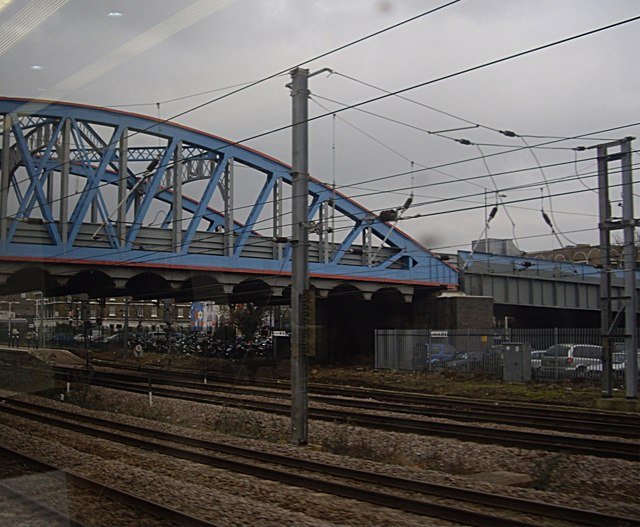 A road bridge at the south end of Peterborough station