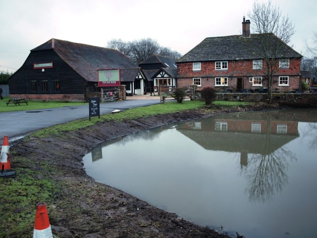 The Red Barn at Blindley Heath with newly dredged swamp.
