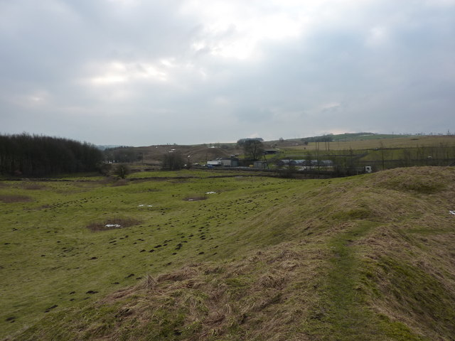 Old quarry spoil heaps and a sewage works