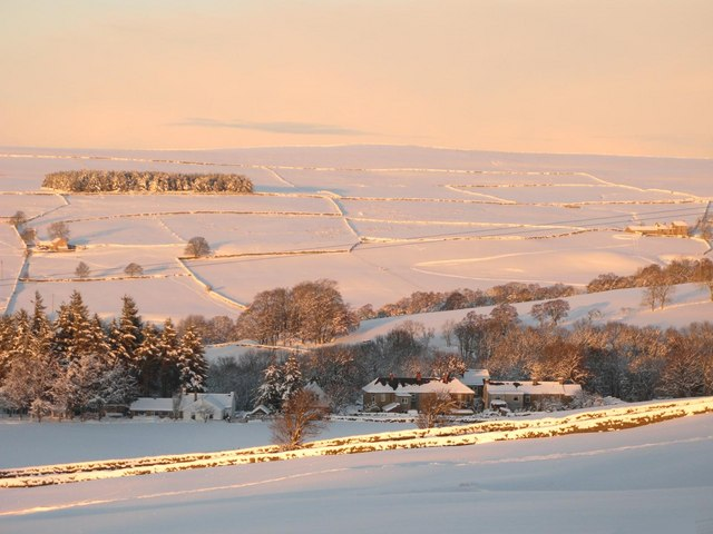 Morning light on the valleys of Shield Burn and Philip Burn in the snow