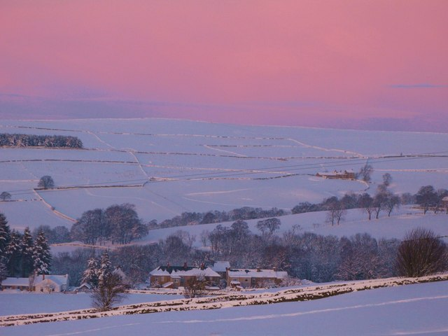 Evening light on the valleys of Shield Burn and Philip Burn in the snow