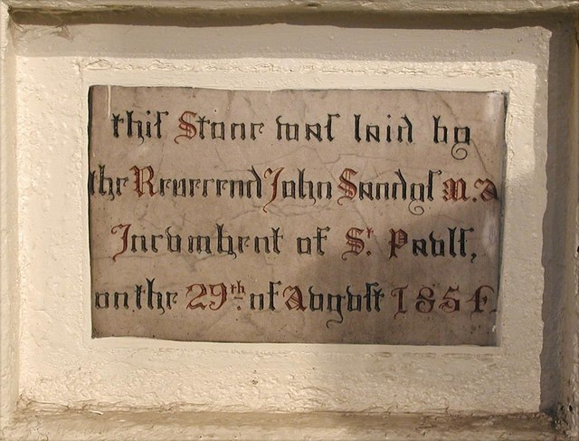 St Jude & St Paul, Mildmay Grove North, London N1 - Foundation stone
