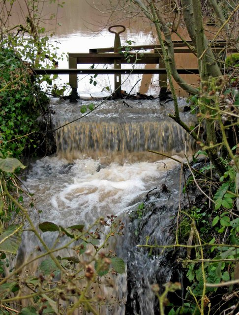 Sluice gate from fishing pool