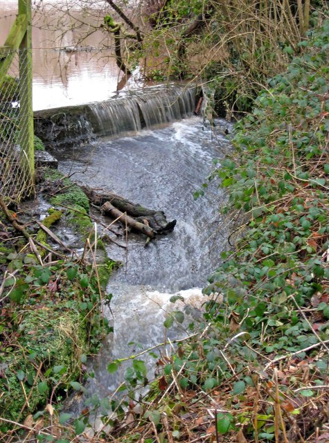 Water overflow channel from fishing pond