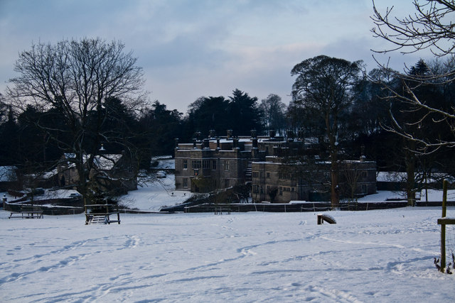 Tissington Hall in snow