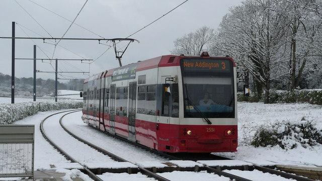 Tram Arrives at Gravel Hill
