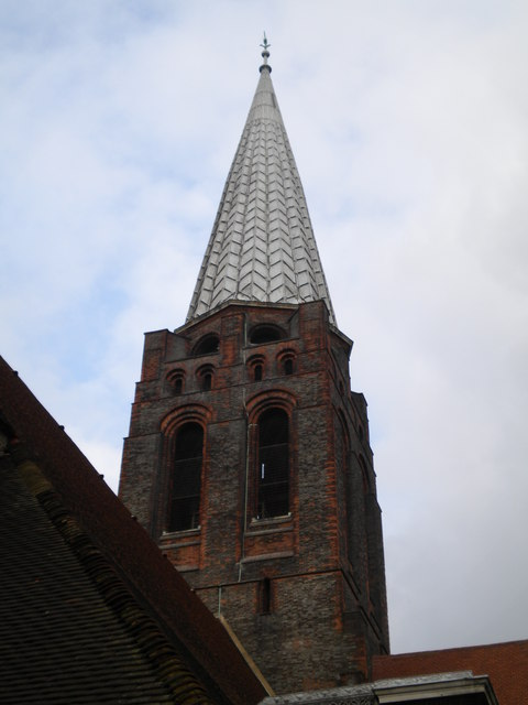 Church spire, St Jude on the Hill, South Square NW11