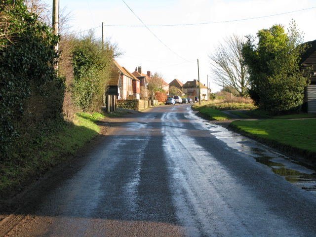 Looking E along the B2067 to Court-At-Street