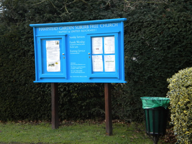 Notice board, Hampstead Garden Suburn Free Church, Central Square NW11
