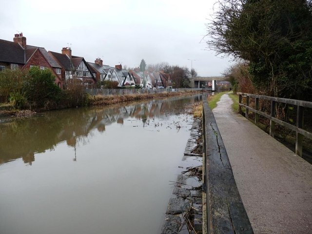 View from overflow weir towards the A52, Erewash Canal