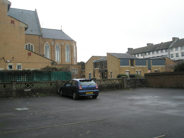 Looking from a car park in Belmont Street towards the catholic church