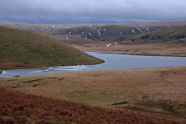 Craig Goch reservoir emerging from winter