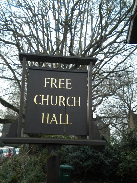 Sign, Free Church Hall, Northway Circus NW11