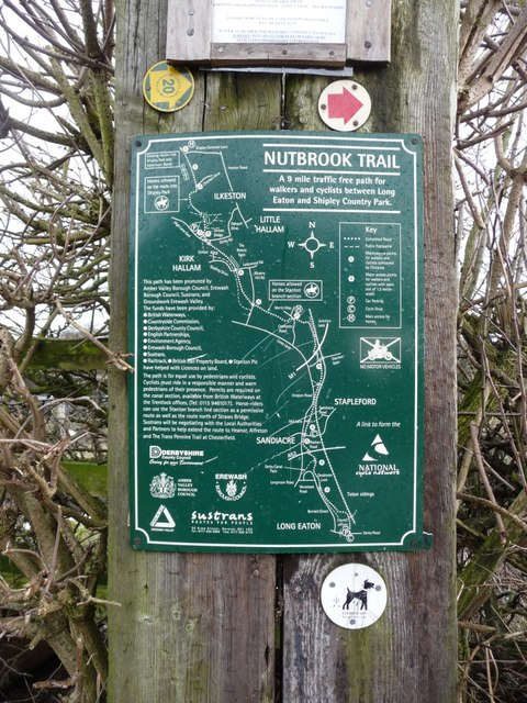Map of the Nutbrook Trail, just below Sandiacre lock