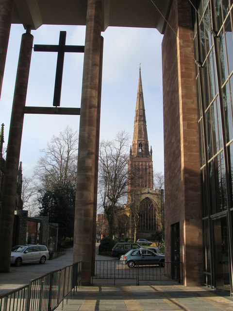 Holy Trinity church from the entrance to Coventry Cathedral