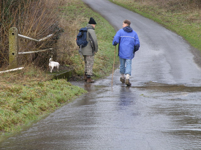 Intrepid explorers crossing the ford on the Deene road