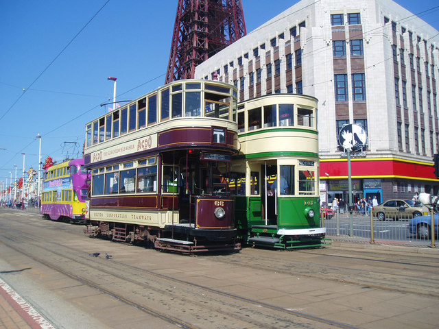 Trams near the Tower, Blackpool
